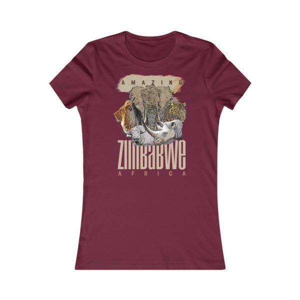 Amazing Zimbabwe Big Five Wildlife Ladies Fit Tee